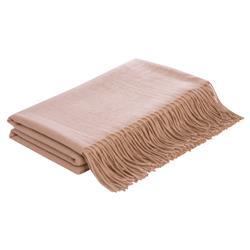 Lennon Flat Weave Camel Wool Throw Blanket - Beige