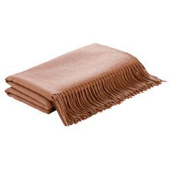 Lennon Flat Weave Camel Wool Throw Blanket - Brown