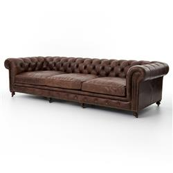 Club Chesterfield Tufted Brown Leather Sofa - 118W