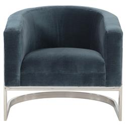 Cabrera Modern Classic Curved Steel Blue Velvet Armchair