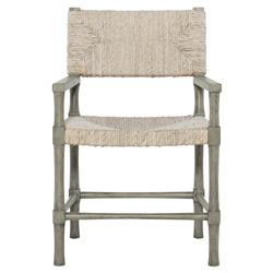 Clarcia Coastal Woven Abaca Light Grey Wood Armchair