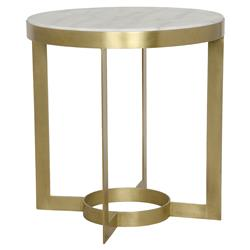 Julen Regency Classic Antique Brass Round Stone End Table