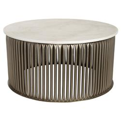 Opher Industrial Loft Antique Silver Round Stone Coffee Table