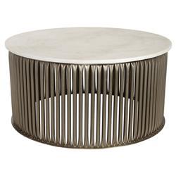 Noir Lenox Industrial Loft Antique Silver Round Stone Coffee Table