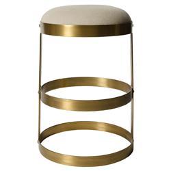 Noir Dior Industrial Antique Brass Beige Linen Counter Stool