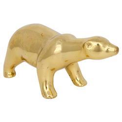 Roaming Antique Brass Polar Bear - Small