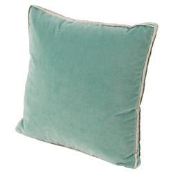 Tildy Classic Sea Green Velvet Linen Pillow - 22x22