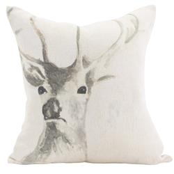 Stag Rustic Lodge Ivory Linen Pillow - 20x20