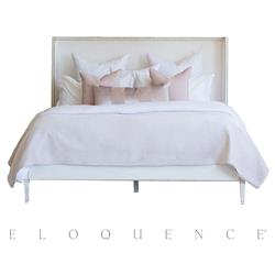 Eloquence Antique White Gold Leaf Cassia Ivory Velvet Bed - Queen