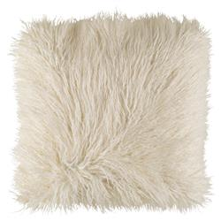 Milla Regency Faux Fur Textured Ivory Throw Pillow - 20x20