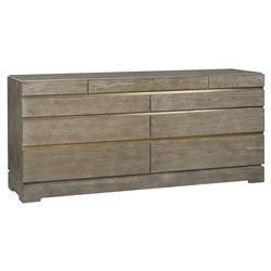 Thom Filicia Cortland Rustic Lodge Satin Brass Grey Oak Dresser