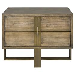 Thom Filicia Marcelus Rustic Lodge Slate Wood Satin Brass Nightstand