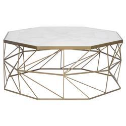 Vanguard Olivia Regency Brass Geometry White Marble Coffee Table - Geometric marble coffee table