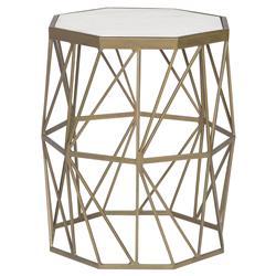 Barry Goralnick Olivia Regency Brass Geometry White Marble End Table