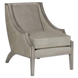 Thom Filicia Pompey Modern Grey Leather Contrast Trim Curved Armchair