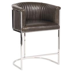 Vanguard Harrison Industrial Modern Brown Leather Polished Steel Counter Stool