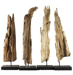 Decorative Drift Wood Sculpture on Metal Stand