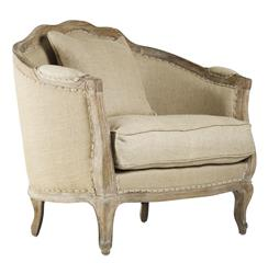 Rue du Bac French Country Natural Hemp Linen Feather Down Arm Chair