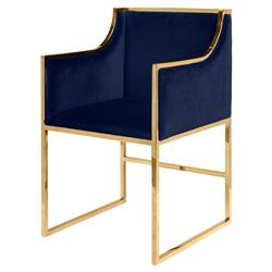 Anastasia Regency Navy Velvet Brass Frame Dining Chair