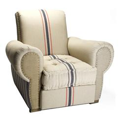 Bristol Linen Rustic Men's Room English Club Chair | HS040