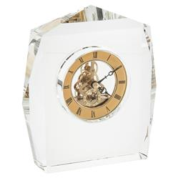 John-Richard Modern Regency Crystal Facet Brass Clock