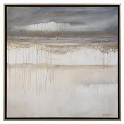 John-Richard Soft Grey Rain Silver Leaf Canvas Giclee