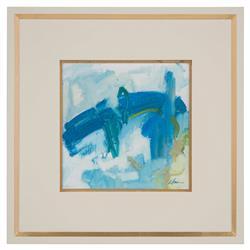 John-Richard Daze Blue Abstract Ivory Gold Giclee Painting