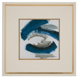 Daze Grey Indigo Abstract Ivory Gold Giclee Painting