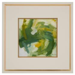 John-Richard Daze Yellow Olive Abstract Ivory Gold Giclee Painting
