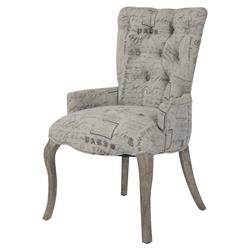 Iris Tufted Vanity Dining Chair with Literary French Script | Kathy Kuo Home