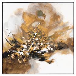 John-Richard Gold Gilt Charcoal Abstract Original Oil Painting