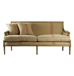 St. Germain French Style Red Stripe Linen Louis XVI Sofa | B007-3 E255-3 Red Stripe