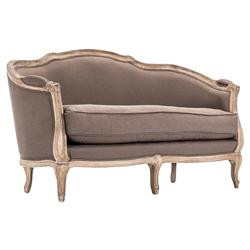 Rue Du Bac Barrel Back Brown Linen Love Seat Settee | CFH007-2 E272 A008