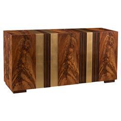 John-Richard Bear Modern Lodge Ebony Veneer Brushed Gold Cabinet