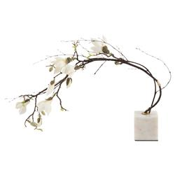 Reaching Magnolia Branch White Marble Faux Floral