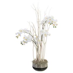Mitsumata White Orchid Global Black Bowl Faux Floral