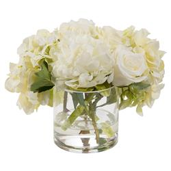 Classic White Glass Cylinder Faux Floral Arrangement