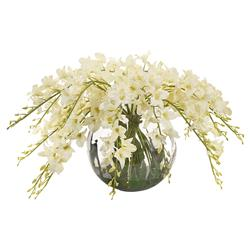 Draped Ivory Dendrobium Faux Floral Arrangement
