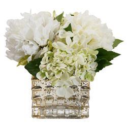 John-Richard Peony Hydrangea Mercury Glass Faux Floral Arrangement