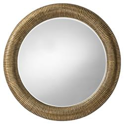 Arteriors Elton Global Textured Brass Ridged Round Mirror - 42D