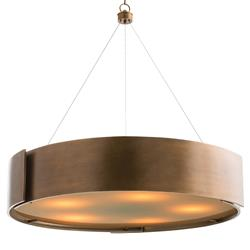 Arteriors Dante Loft Brass Banded Round Frosted Pendant