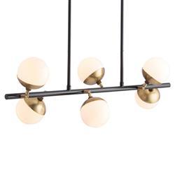 Arteriors Wahlburg Modern Retro Brass Opal Glass Ball Island Light
