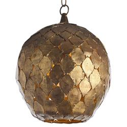 Arteriors Osgood Bazaar Antique Gold Leaf Diamond Globe Pendant