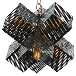 Rigby Industrial Perforated Cube Brass Bronze Chandelier