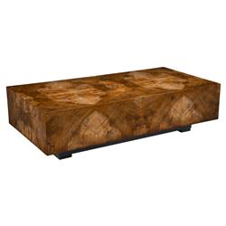 John-Richard Larron Rustic Modern Walnut Burl Slab Rectangular Block Coffee Table