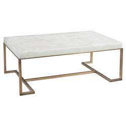 John-Richard Anthea Regency Calcite Slab Antique Brass Rectangular Coffee Table