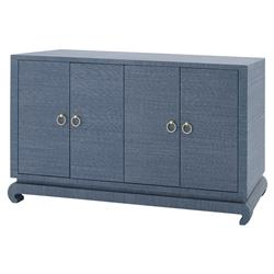 Bungalow 5 Meredith Regency Navy Blue Grasscloth Chow Cabinet