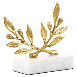 Olive Branch Gold Leaf Marble Sculpture