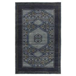 "Priya Bazaar Antique Wash Blue Wool Patterned Rug - 5'6""x8'6"""