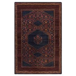 Priya Bazaar Antique Wash Burgundy Wool Rug - 5'6x8'6
